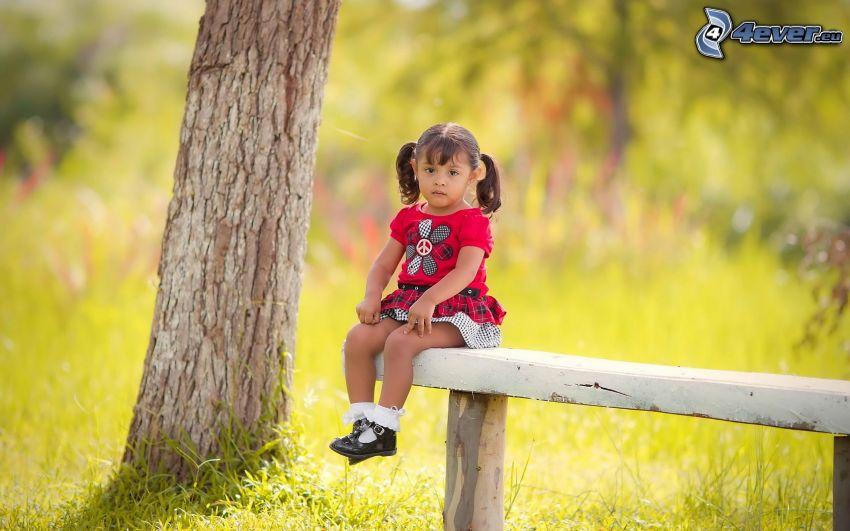 muchacha en banco, árbol