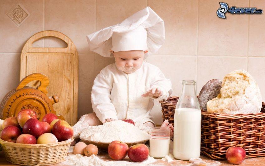 niño, cocinero