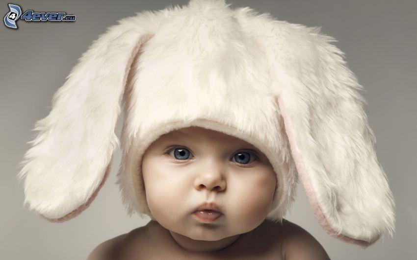 niño, orejas, vestuario de liebre