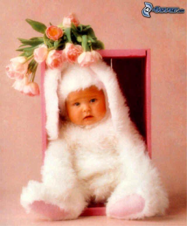 niño, vestuario de liebre