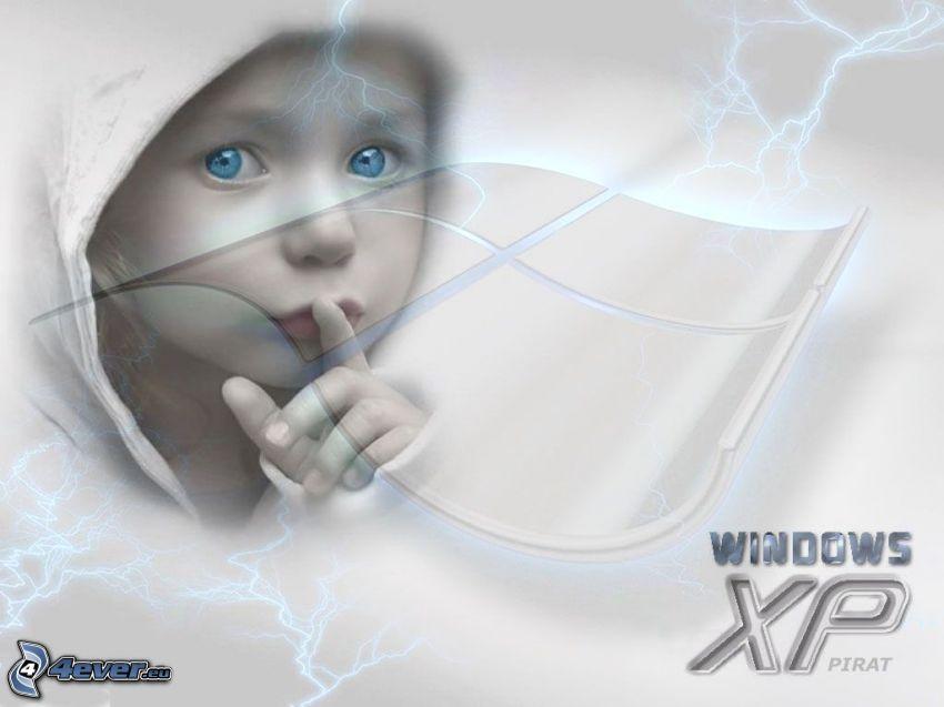 niño de ojos azules, Windows XP