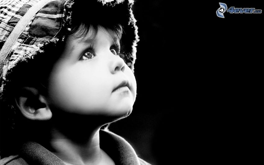 niño pequeño, gorro, Foto en blanco y negro