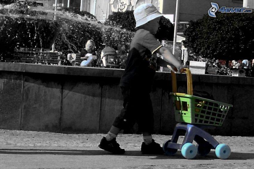 niño pequeño, niño, cesta, fuente