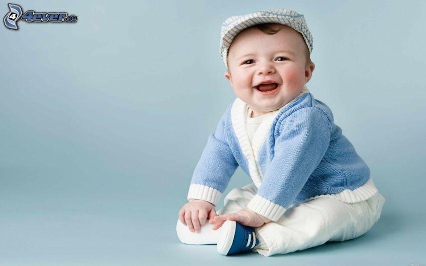 niño pequeño, risa, gorro