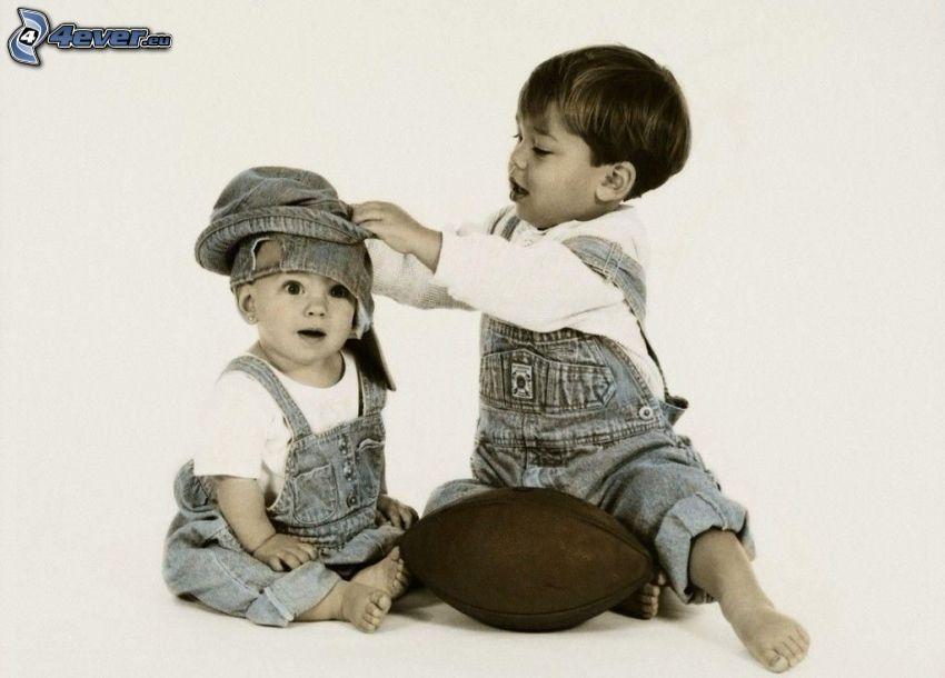 niños, balón de fútbol