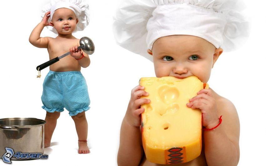 niños, cocinero