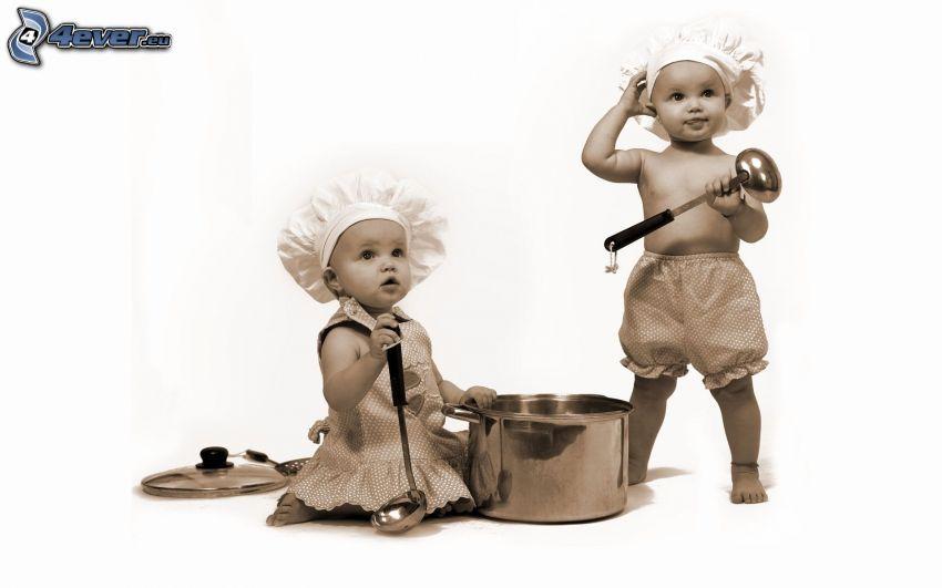 niños, cocineros