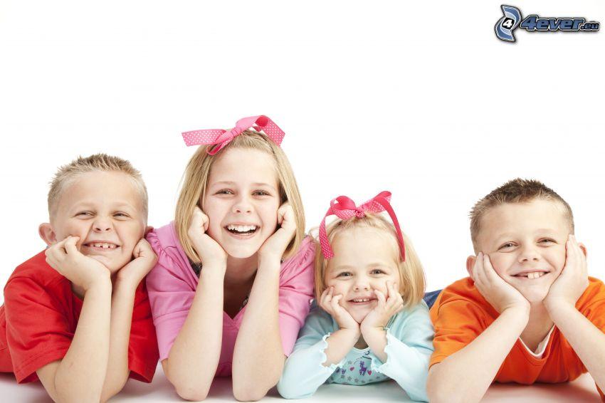 niños, sonrisas