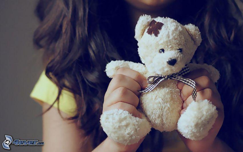 oso de peluche, chica