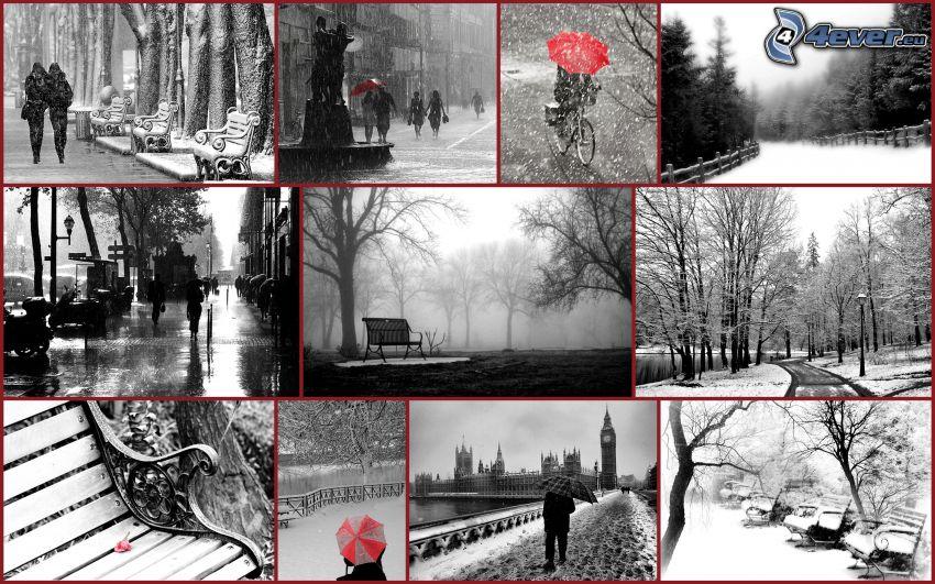 otoño, collage, parejas