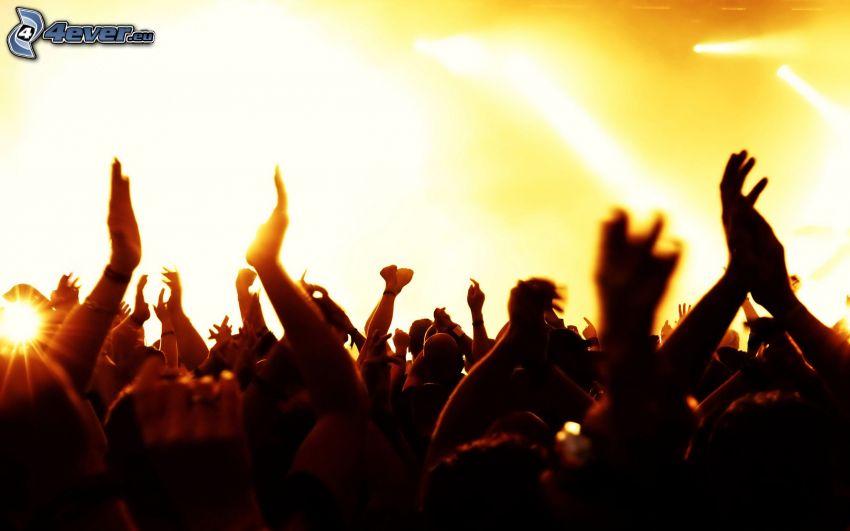 personas, manos, concierto, megafiesta