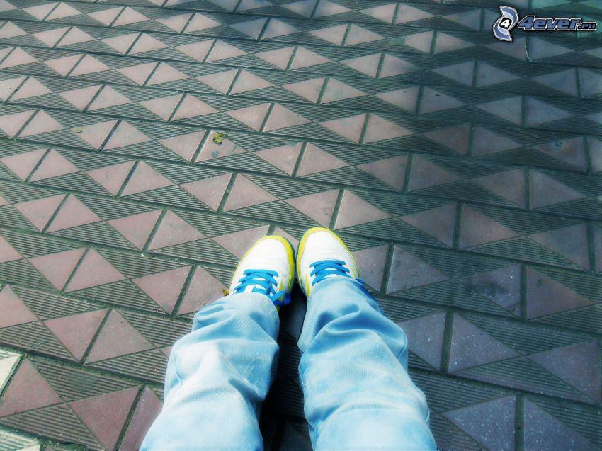 pies, pavimento