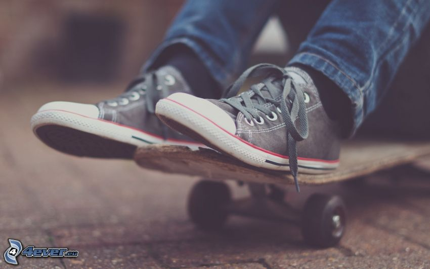 pies, skateboard, Converse