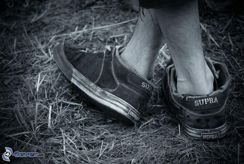 pies, zapatos deportivos, heno