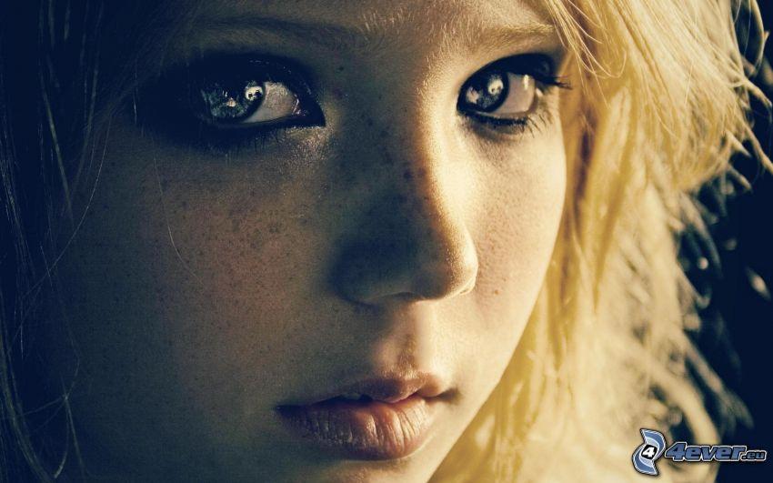rubia, ojos