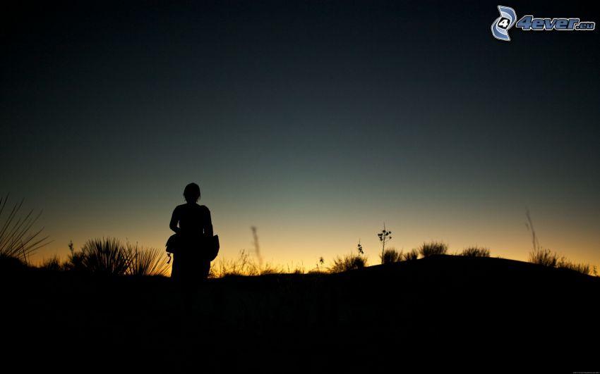 silueta de mujer, horizonte, después de la puesta del sol
