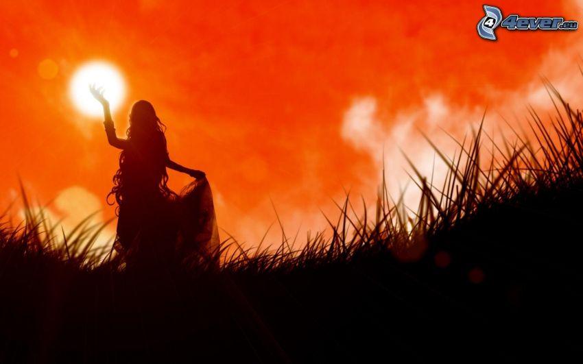 silueta de mujer, puesta de sol anaranjada