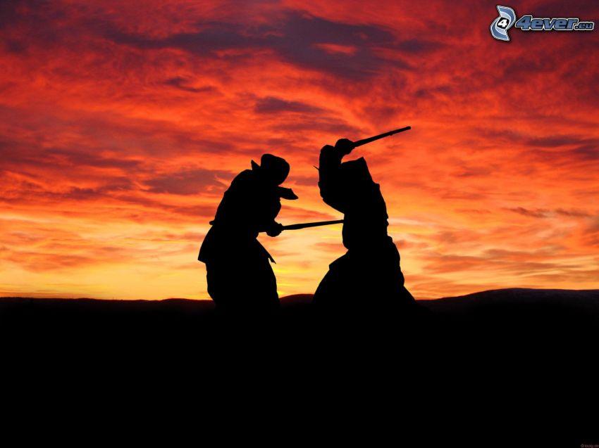 siluetas, luchadores, silueta del horizonte, cielo anaranjado