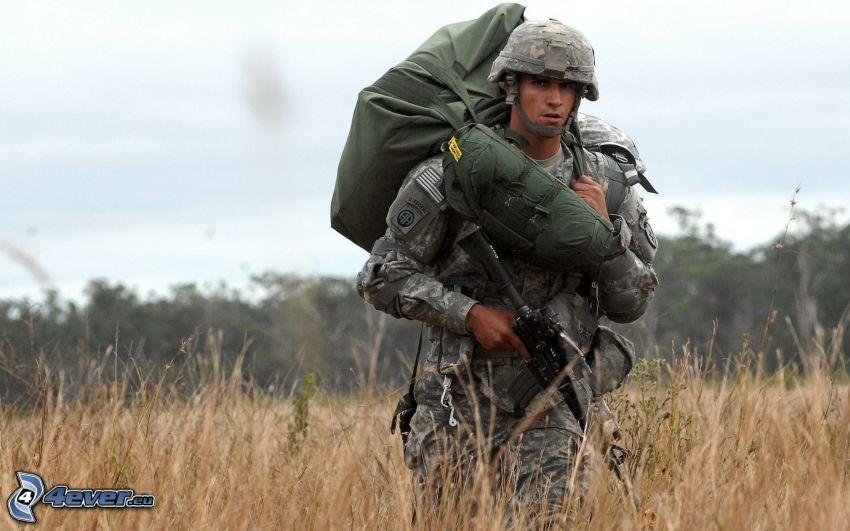 soldado, hierba seca