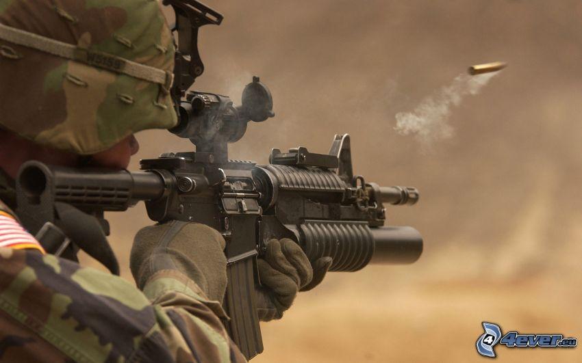 soldado, metralleta, cargo, tiro