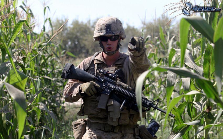 soldado con una pistola, campo