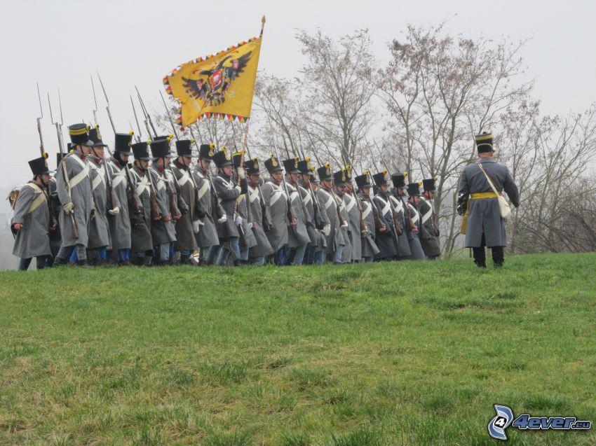 soldados, bandera