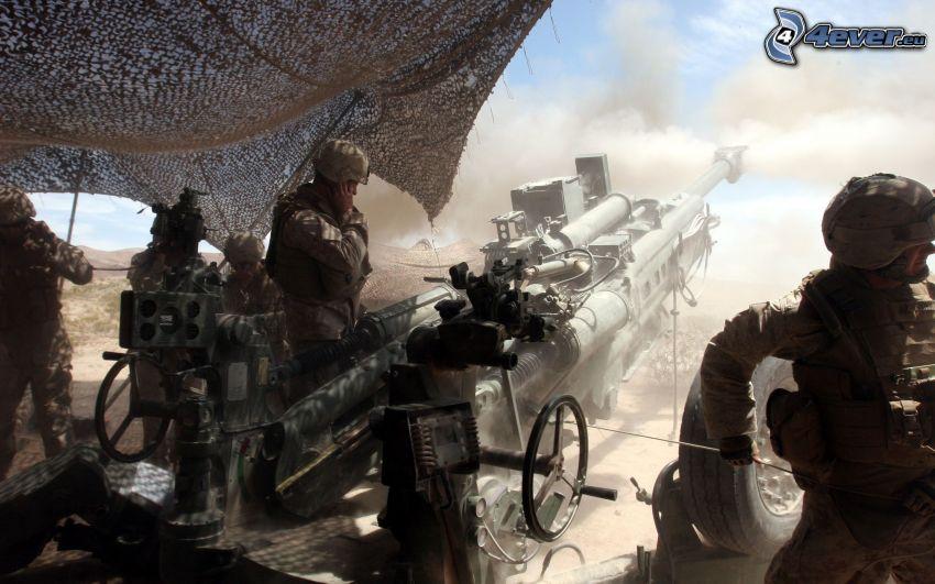 soldados, cañón