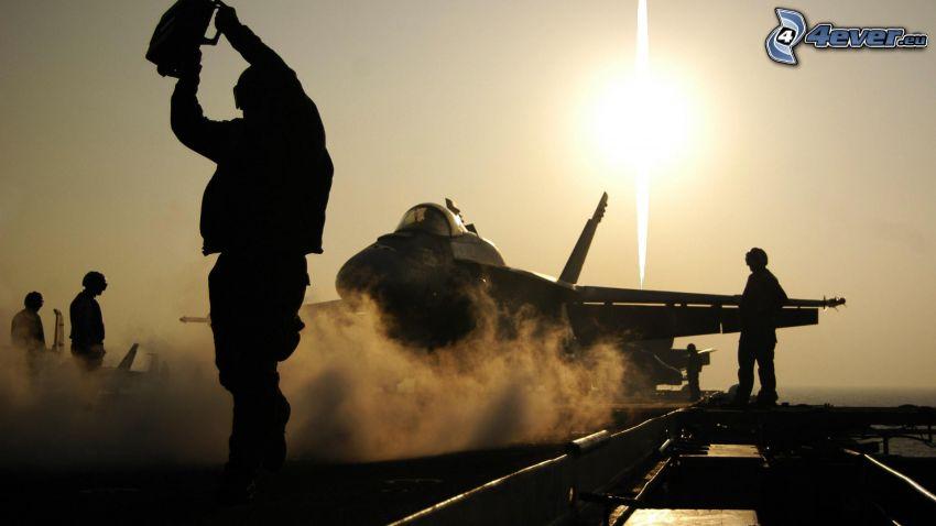 soldados, siluetas, avión