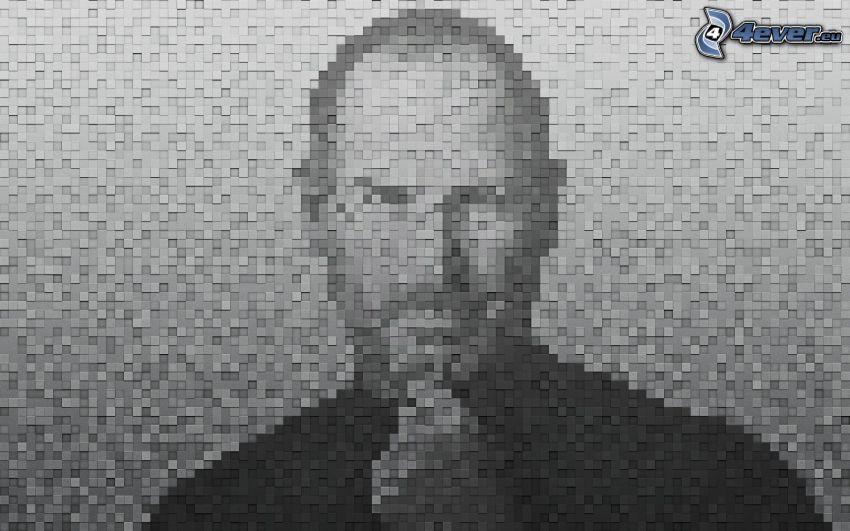 Steve Jobs, mosaico, blanco y negro