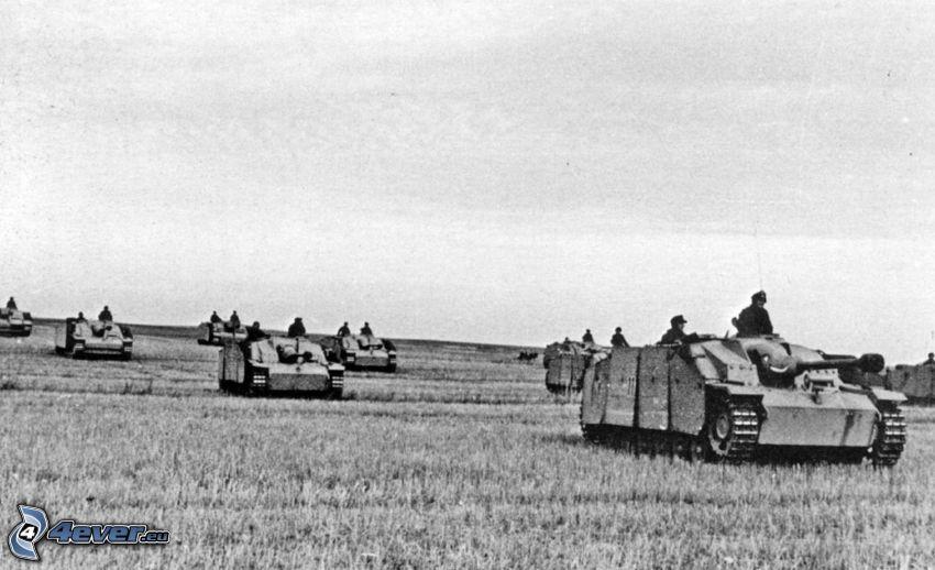 Wehrmacht, tanques, campo, Foto en blanco y negro