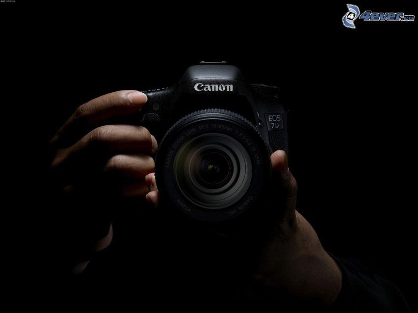 cámara, manos