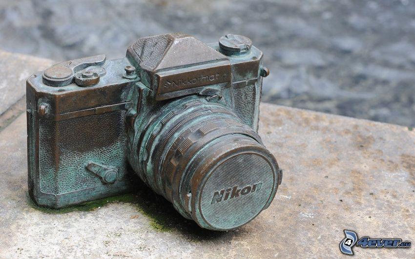 cámara, Nikon, estatua