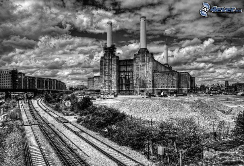 fábrica, carril, nubes, HDR