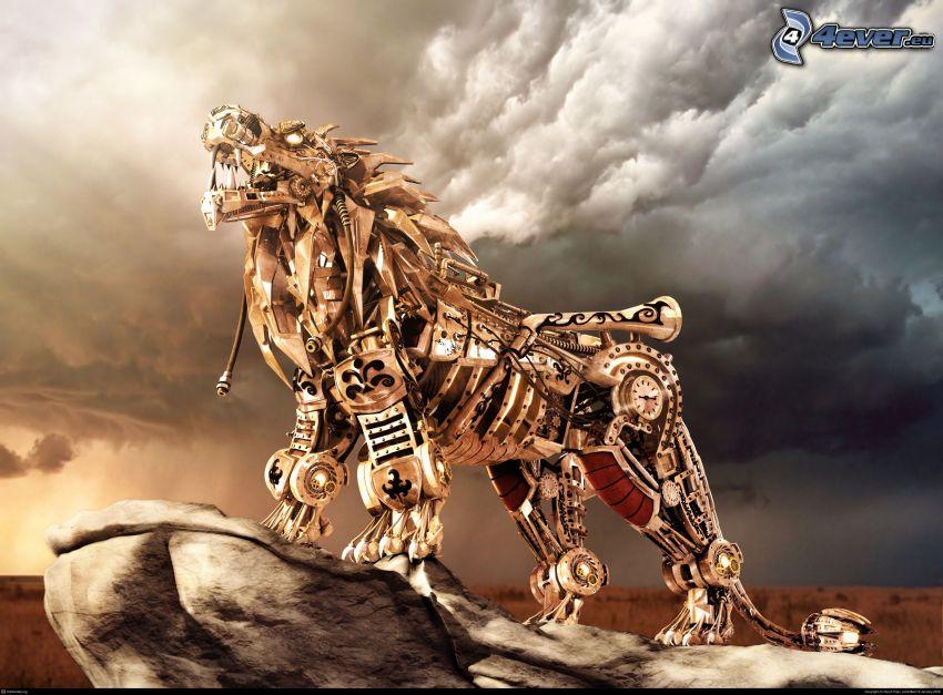 león, robot, animal mecánico, nubes
