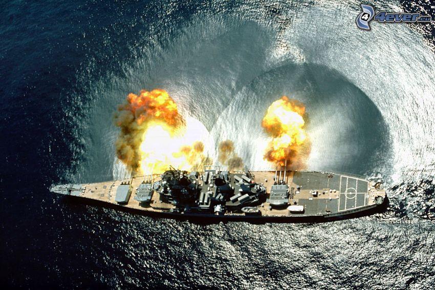 buque de guerra, tiro