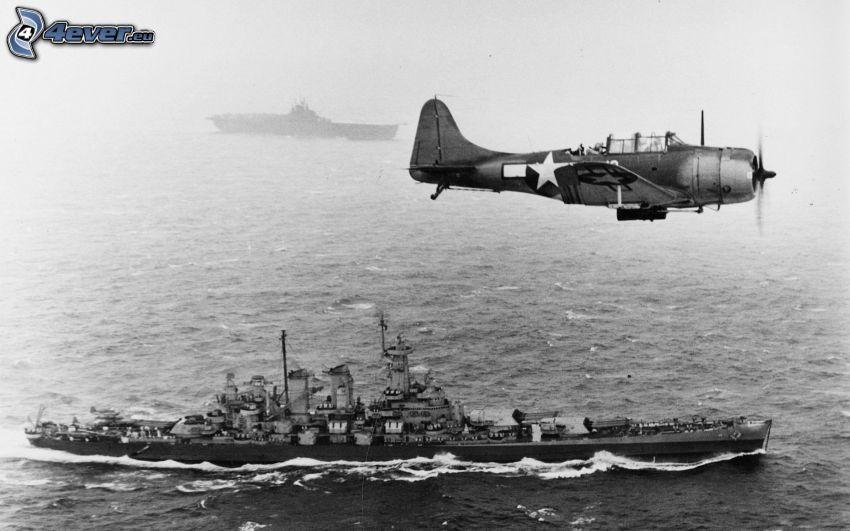La Segunda Guerra Mundial, avión, buque de guerra