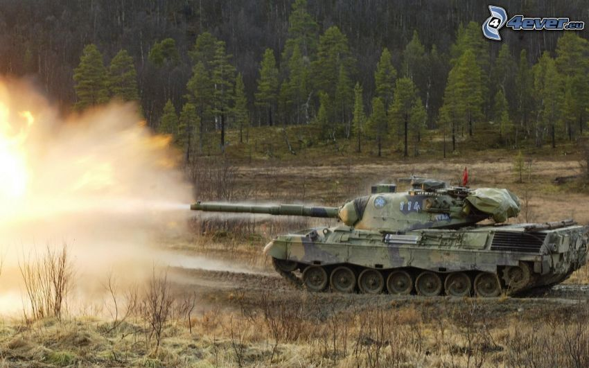 Leopard 1, tanque, tiro, bosque
