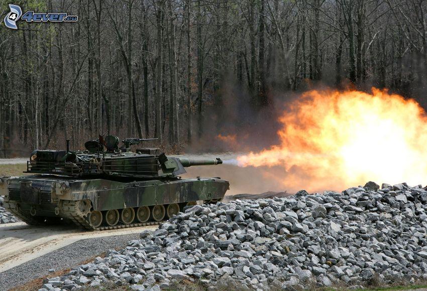 M1 Abrams, lanzallamas, tanque, tiro, bosque, piedras