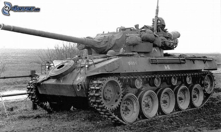 M18 Hellcat, tanque, armas, Foto en blanco y negro