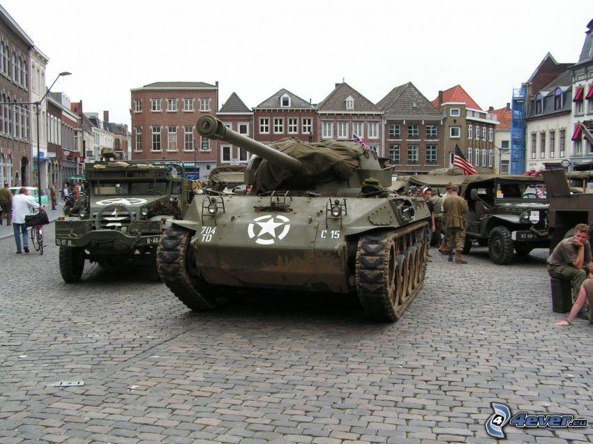 M18 Hellcat, tanque, plaza, soldados