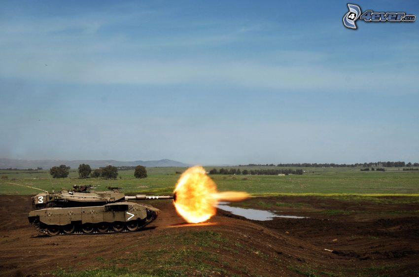 Merkava, tiro, tanque
