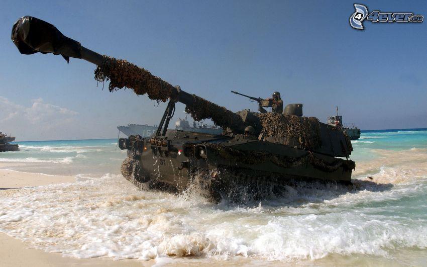 tanque, playa, mar