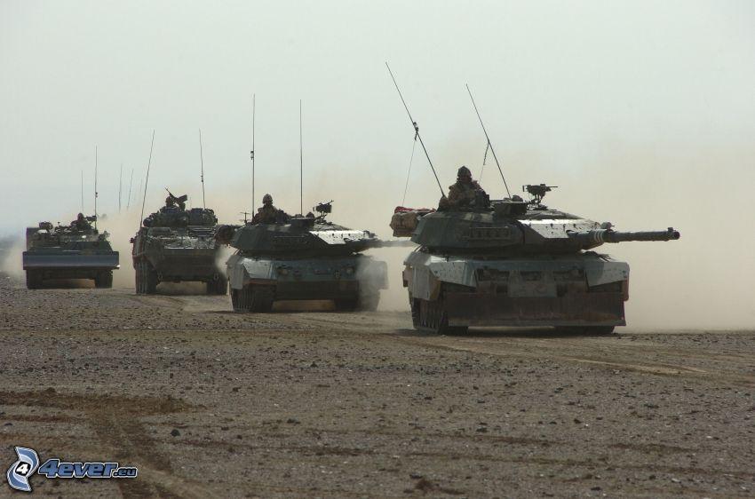 tanques, M1 Abrams, soldados