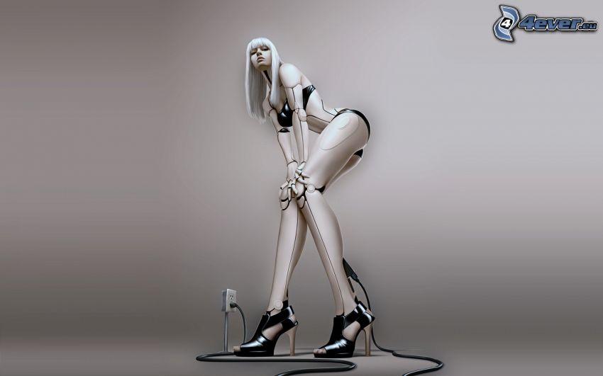 mujer, robot