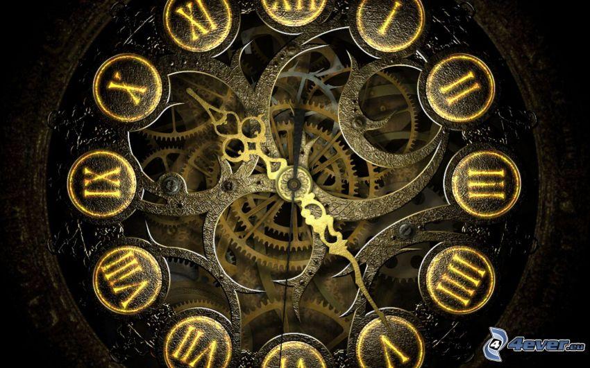 reloj, engranajes