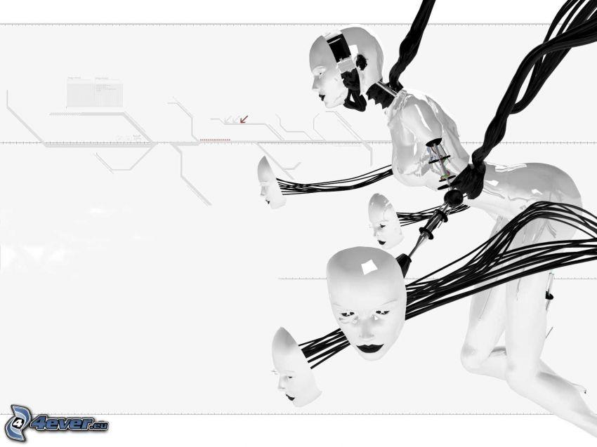 robot, máscaras