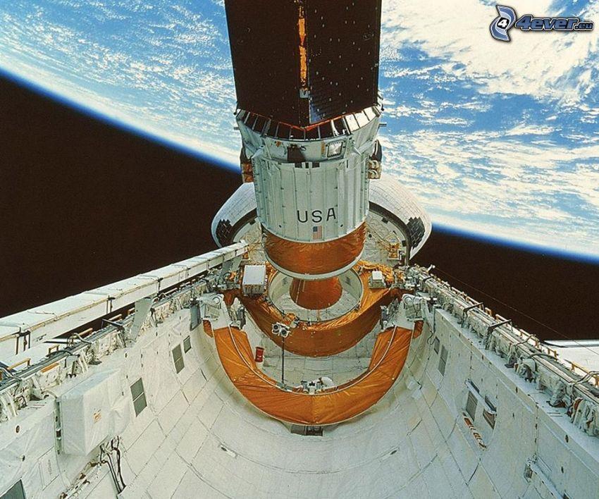 satélite, transbordador espacial, Tierra