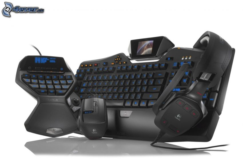 teclado, ratón, auriculares