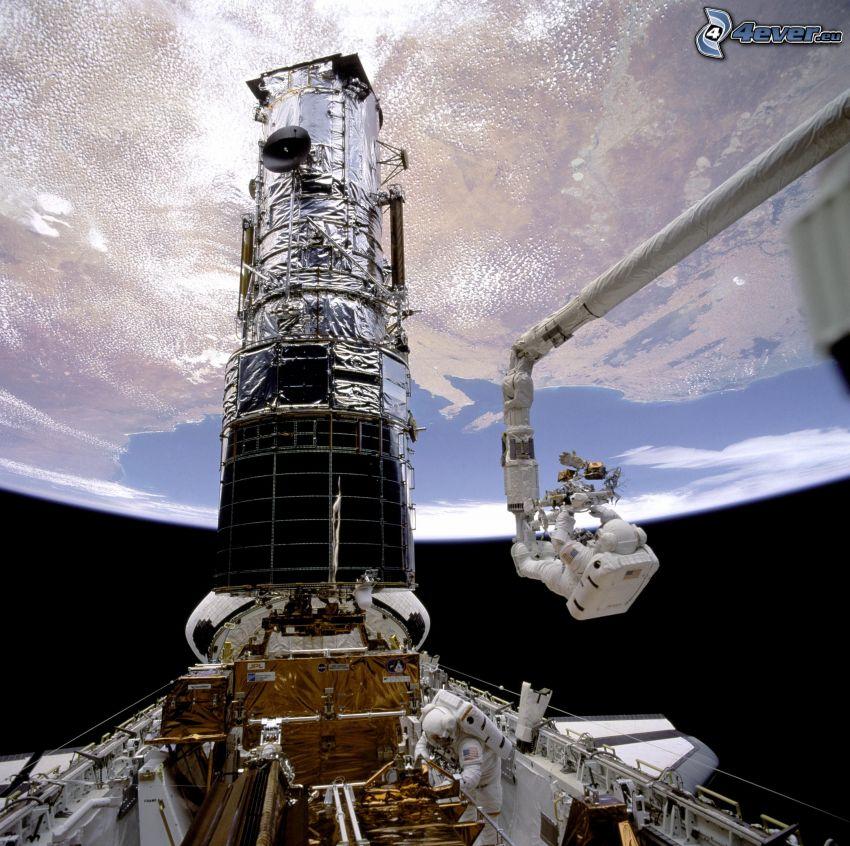 transbordador en órbita, Telescopio espacial Hubble, astronauta, Tierra