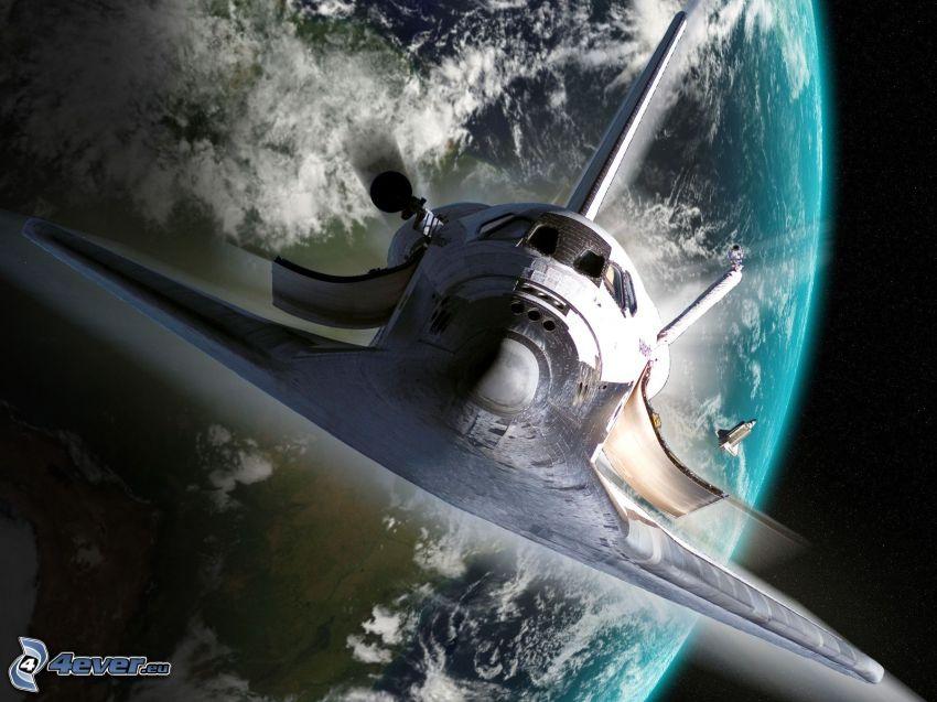 transbordador espacial, arte digital